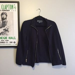 Karen Scott Quilted Zipper-Front Jacket